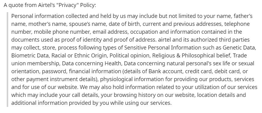 privacy, Inida, Airtel